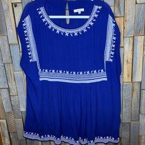 Halo plus size 2x blouse top shirt blue white. F24